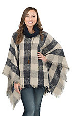 Angie Women's Navy Blue Plaid with Fringe Sweater Poncho