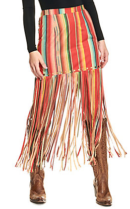 Fashion Express Women's Serape Stripe with Fringe Skirt