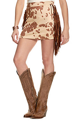 Fashion Express Women's Tan Cow Print with Fringe Mini Skirt
