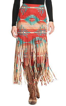Fashion Express Women's Rust and Turquoise Fringe Skirt
