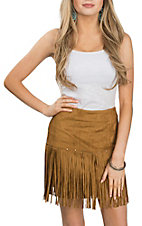 Fornia Women's Camel Faux Suede Stud Fringe Skirt