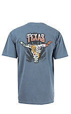 Live Oak Brand Blue Jean Texas License Plate Longhorn Short Sleeve Tee