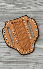 Slade Saddle Shop Small Basket Stamped Saddle Tan Leather Large Pancake Knife Sheath