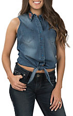 Grace in LA Women's Denim Tie Front Embroidered Sleeveless Top