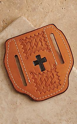 Slade Saddle Shop Basket and Cross Stamped Saddle Tan Leather Large Pancake Knife Sheath