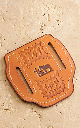 Slade Saddle Shop Basket and Praying Cowboy Stamped Saddle Tan Leather Large Pancake Knife Sheath