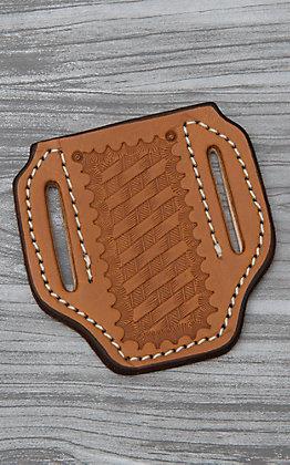 Slade Saddle Shop Basket Stamped Saddle Tan Leather Large Pancake Knife Sheath