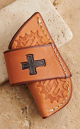 Slade Saddle Shop Cross Stamped Saddle Tan Leather Side-Draw Knife Sheath