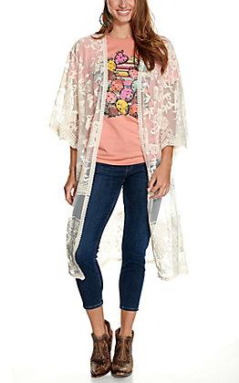 She + Sky Women's Cream Crochet Lace Duster Kimono