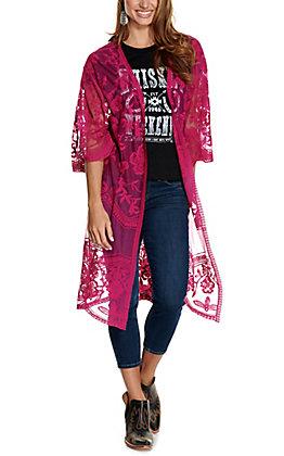 She + Sky Women's Dark Magenta Pink Crochet Lace Duster Cardigan