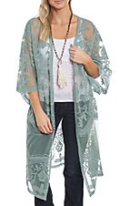 She + Sky Women's Sage Crochet Lace Duster Cardigan