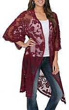 She + Sky Women's Burgundy Crochet Lace Duster Cardigan