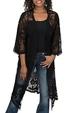 She + Sky Women's Black Crochet Lace Duster Cardigan