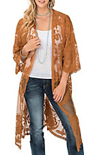 She + Sky Women's Camel Crochet Lace Duster Cardigan