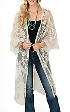 She + Sky Women's Cream Crochet Lace Duster Cardigan