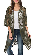 She + Sky Women's Dark Olive Crochet Lace Duster Cardigan