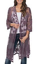 She + Sky Women's Dusty Purple Crochet Lace Duster Cardigan