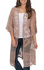 She + Sky Women's Light Mocha Crochet Lace Duster Cardigan