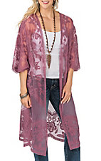 She + Sky Women's Mauve Crochet Lace Duster Cardigan