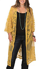 She + Sky Women's Mustard Crochet Lace Duster Cardigan