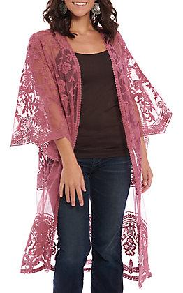 She + Sky Women's Mauve Crochet Lace Duster Cardigan