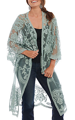 She + Sky Women's Slate Blue Crochet Lace Duster Cardigan