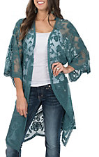 She + Sky Women's Teal Crochet Lace Duster Cardigan