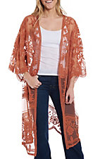 She + Sky Women's Carrot Crochet Lace Duster Cardigan