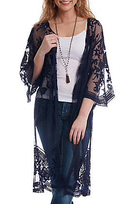 She + Sky Women's Navy Crochet Lace Duster Cardigan