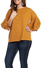 She + Sky Women's Mustard 3/4 Balloon Sleeve Casual Knit Top