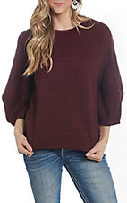She + Sky Women's Wine 3/4 Balloon Sleeve Casual Knit Top