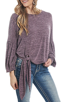 She & Sky Women's Eggplant Solid Tie Front Casual Knit Tops