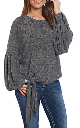 She & Sky Women's Grey Solid Tie Front Casual Knit Tops