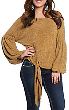 She & Sky Women's Mustard Solid Tie Front Casual Knit Tops