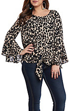 She + Sky Women's Taupe Leopard Tie Front Fashion Top