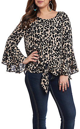 322392f17f0fac She + Sky Women s Taupe Leopard Tie Front Fashion Top