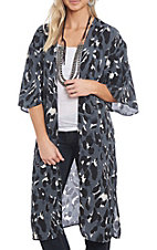 She + Sky Women's Charcoal Leopard Duster
