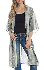 She + Sky Women's Light Grey Snake Skin Kimono