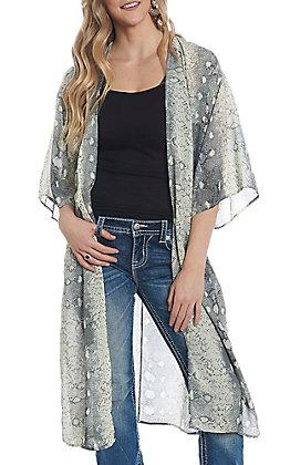 She + Sky Women's Light Grey Snake Skin Kimono