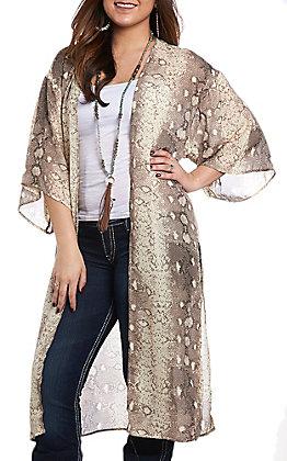 She + Sky Women's Light Mocha Snake Skin Kimono