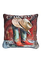 Manual Woodworkers & Weave Cowboy Hat and Boots Design Throw Pillow