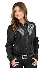 Grace in LA Women's Faded Black with Turquoise and White Embroidery and Rhinestone Embellishment Long Sleeve Western Shirt