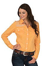 Grace in LA Women's Orange with Silver Embroidery & Stones Long Sleeve Western Shirt