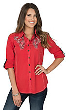 Grace in LA Women's Red with Silver Embroidery & Stones Long Sleeve Western Shirt