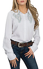 Grace in LA Women's White with Silver and Blue Embroidery & Stones Long Sleeve Western Shirt