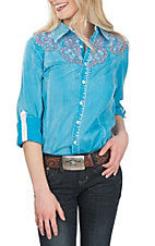 Grace in LA Women's Sky Blue with Pink Embroidery L/S Western Shirt