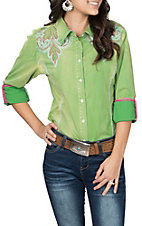 Grace in LA Women's Lime Green with Pink & White Embroidery L/S Western Shirt