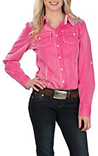 Grace in LA Women's Hot Pink w/ Stones L/S Western Shirt