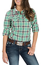 Grace in LA Women's Teal Plaid with Pink Embroidery Western Snap Shirt