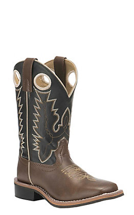 Smoky Mountain Boots Youth Brown with Black Upper Western Square Toe Boots